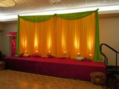 Beautiful Sangeet Decor by Ravi's Decorations at the Chicago Marriott Naperville - Naper Ballroom Mehndi Decor, Photo Booth Props, Floral Designs, Lodges, Wedding Colors, Chicago, Party Ideas, Creative, Beautiful