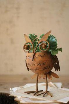 Rustic Iron Owl Flower Pot $19.00