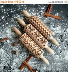3 rolling pins with patterns of your choice custom collection