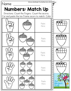 Numbers: Match Up- Count the fingers and number of acorns, and match the ten frame to match. Tons of preschool activities to teach basic number concepts, letters, shapes, colors and so much more! November NO PREP Packets Seasons Worksheets, Free Math Worksheets, Kindergarten Worksheets, Preschool Curriculum, Pre K Activities, Number Activities, Math Classroom, Maths, Math Sheets