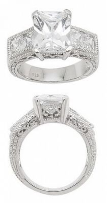 Sterling Silver Heavy Set Cubic Zirconia Engagement Ring Set
