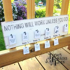 """""""Nothing Will Work Unless You Do"""" - what a quote! Today's Fabulous Finds: Job Board with Stenciled Quote"""