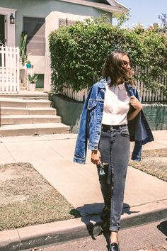 """1 Vintage Aficionado, 5 Fresh Ways To Wear Denim #refinery29  http://www.refinery29.com/how-to-style-denim#slide-7  Would you say you have a style uniform?   """"My 'uniform' is a vintage white tee, old Levi's®, and a pair of Celine slip-ons or Nike trainers. This denim jacket is my boyfriend's, but it totally fits my aesthetic, so I end up wearing it as often as he does. A lot of the time, when I see my grandma (who's 95), I find that we're wearing very similar outfits. I think it's really…"""