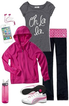"""""""pink workout"""" by daisy-weber ❤ liked on Polyvore"""