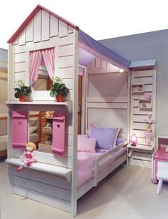 Girls playhouse bed. No actual play area, just looks like a house. Check out our other kids furniture & decor ideas: http://www.under5s.co.nz/shop/Babies+%26+Kids+Gear/Furniture+%26+Decor.html