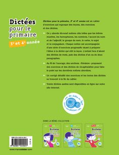 Dictées pour le primaire, et année French Lessons, France, Personal Care, Grammar, Exercise, Self Care, Personal Hygiene, Early French