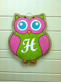 Burlap Door Hanger  Pink and Green Owl