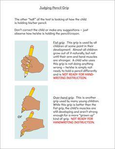 Assessing pencil grip page 1 #HandwritingPractice&PencilGrip