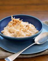 RICE PUDDING W/ COCONUT MILK  Ingredients:  1/2 cup jasmine, basmati or other long-grain brown rice (white rice is okay)  1/3 cup granulated sugar  1 can coconut milk (light is okay)  1-1/2 cups 2% or whole milk  1 Tbsp. butter  1 tsp. vanilla  1 tsp. cinnamon  Preparation:    Spray the slow cooker stoneware with cooking spray.    Add all ingredients to the slow cooker. Stir, cover, and cook on high 4-6 hours