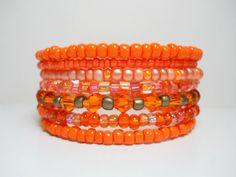 Memory Wire Bracelet Neon Orange Stacking Bracelet