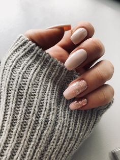 Nude and Rose Gold Glitter Nails