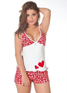 Shorts Pajama Sets White Straps V Neck Red Heart D . Shorts Pajama Sets White Straps V Neck Red Heart D .- Shorts Pajama Sets White Straps V Collar Red Heart Pattern Sho Pajama Outfits, Lazy Outfits, Pajama Shorts, Cute Outfits, Cute Pjs, Cute Pajamas, Little White Dresses, Little Girl Dresses, Pijamas Women