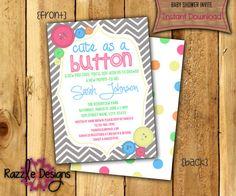 Button Baby Shower Invitation-Digital File by RazzleDesignsbyRylee