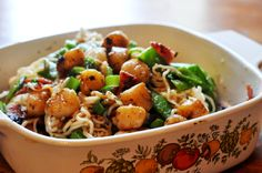 Final recipe of the day: Weight Watchers Scallop and Turkey Bacon Shirataki Noodles with Romano Cheese. :)