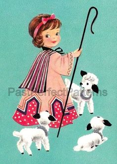Digital Image  Shepherdess and Lambs Cute by PastPerfectPatterns