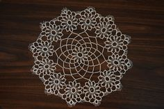 tatted doily//white//12 inches by ThreadOrnaments on Etsy