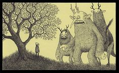 I love how these monster drawings channel the spirits of Edward Gorey and Maurice Sendak in perfect measure. Created in artist John Kenn's spare time. Each of these images is very tiny: it was drawn using only office supplies on Post-It notes.