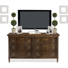 DW dresser with tv and frames by bbarden, via Polyvore