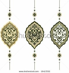Traditional antique ottoman turkish tile illustration design - stock vector