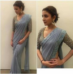 Dusty blue sari with mirror work blouse