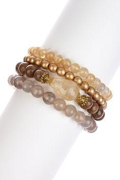Agate & Quartz Bracelet Set