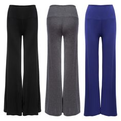 Fashionable Mid Elastic Waist Boot Cut Wide Leg Pants For Women  Leggings