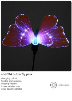 Solar powered garden lights butterfly or hummingbird