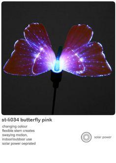Solar powered garden lights butterfly or hummingbird
