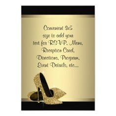 Black Gold High Heels RSVP Custom Invitation