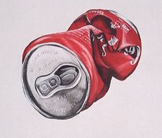 It is a really good drawing of a can using coloured pencils. They got the cans' structure realistic and the light contrasts with the shadows. The artist has shown off some really good skills to make the can bend and look 3 dimensional. High School Art, Middle School Art, Art Drawings Sketches, Pencil Drawings, Gcse Art Sketchbook, Sketchbooks, Coca Cola, Observational Drawing, Still Life Drawing
