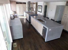 Custom Triple Sink Kitchen Concrete Countertop With Concrete Backsplash Concrete Countertops Trueform Concrete Custom Work Pinterest More Concrete