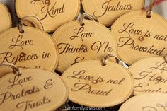 Love is Patient, Love is Kind, Set of 10 rustic wedding isle decorations