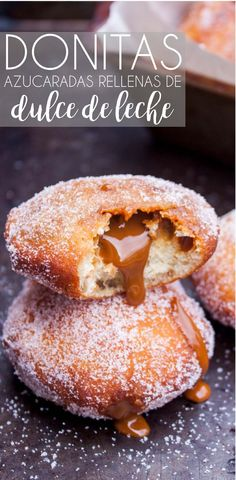 These donuts are the BEST donuts you'll ever try, and filled with Dulce de Leche makes them out of this world delicious! Donut Recipes, My Recipes, Mexican Food Recipes, Dessert Recipes, Donuts, Mexican Pastries, Mexican Bread, Delicious Desserts, Yummy Food