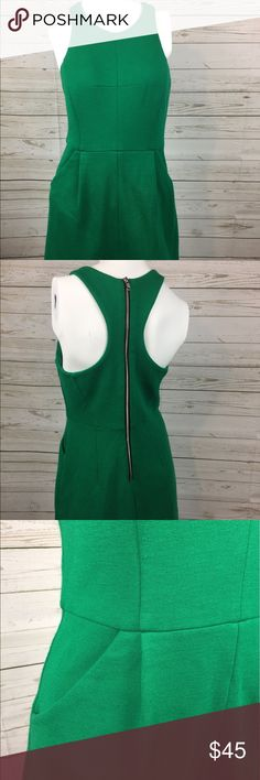 An original Milly of New York green dress Green racer back dress with back Zipper and Pockets 17in bust and 15 in waist Milly Dresses Midi