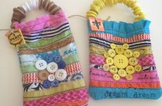 Embellished Button Cloth-Scraps Mini Tote Bags - love these!