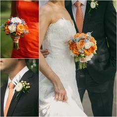 ranunculus, orange roses and berries