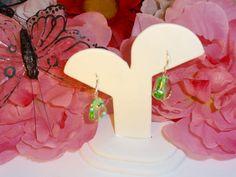 GREEN GRASS - Light Green Czech Pressed Crystal Glass Teardrops - 13x16mm Silver Flat Czech Pressed Crystal Glass Beads French Hook Earrings by ChrysalisCrystalGems on Etsy