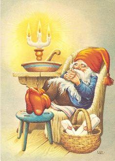 8 Pcs postcard Vintage Christmas New Year Gnome Lars Carlsson Unused Vintage Christmas Cards, Vintage Holiday, Vintage Cards, Vintage Postcards, Yule, Kobold, Sketch Painting, Christmas Gnome, Christmas Illustration