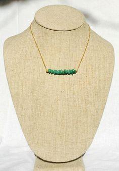 Green Quartz Stone Bar Necklace by BohoBabeShop on Etsy https://www.etsy.com/listing/397906671/green-quartz-stone-bar-necklace