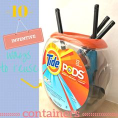 Ever wonder what to do with all those empty Tide Pods Containers?! UPCYCLE! The BEST Ways to Reuse Tide Pods Containers Best Thrifty Tips #thrifty