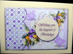 Freesia Birthday on Craftsuprint designed by Vicki Avcin - made by Mary Murphy - Printed on good quality card paper, cut out and layered the elements with foam pads, I trimmed in gold peel off to finish around the edges and added the caption  - Now available for download!