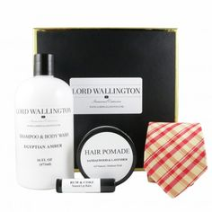 silk tie, natural hair pomade, shampoo & body wash, rum & coke lip balm gift set for men