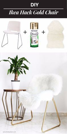 75 IKEA hack ideas for decorating your homeBest IKEA hacks and DIY hack ideas for furniture projects and home decor from IKEA - DIY IKEA Hack Gold Chair - creative IKEA hack tutorials for DIY Hacks Ikea, Hacks Diy, Best Hacks, Furniture Projects, Home Projects, Kitchen Furniture, Furniture Storage, Apartment Furniture, Furniture Vanity