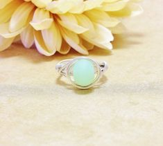Beach Glass Ring Sterling Silver Sea Green Sea Foam Beach Jewelry Sea Glass Wire Wrapped Handmade Beach Wedding Bridal Jewelry Gift ideas on Etsy, $21.00