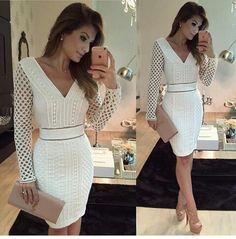 Vestido branco com detalhes nas mangas #perfeito #justo