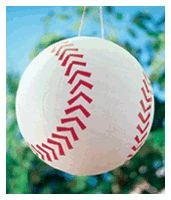 Baseball Pinata - Find more Sports Birthday and Baseball Party Ideas at http://www.birthdayinabox.com/party-ideas/guides.asp?bgs=131