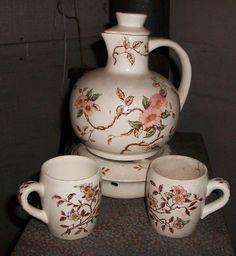 Nasco Springtime Tea Pot and Warmer w/ 2 cups tea set antique circa 1940's #Nasco