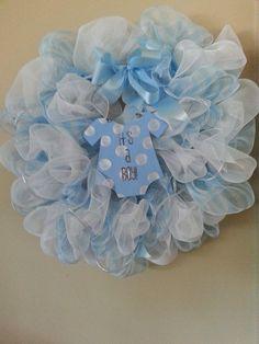 Baby Boy Wreath, Baby Boy Decor, Blue and White Mesh Wreath on Etsy, $40.00