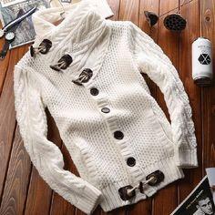 Men's Knit Button Down Sweater Cardigan Material: Knit Closure- Button Down Sizes - M, L, XL, 2X, 3X, 4X Colors - Black, Grey, White, Brown