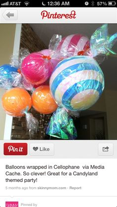 Balloons wrapped in cellophane
